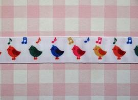 Lint vogeltjes muzieknootjes 22 mm