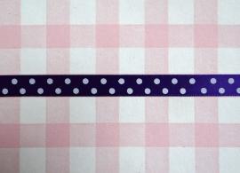 Satijnband stippen paars