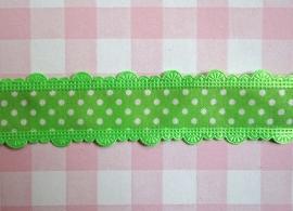 Sierband polkadot met geschulpte rand groen