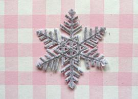 Strijkapplicatie sneeuwvlok zilver