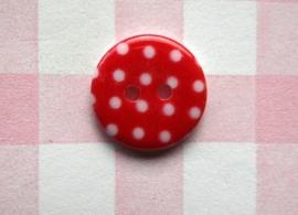 Knoop rond witte stip rood