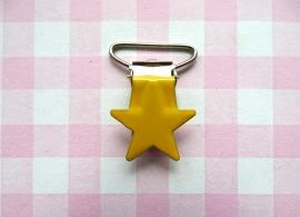 Speenclip metaal ster geel
