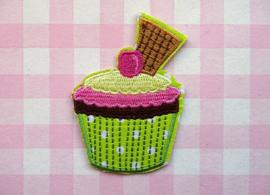 Strijkapplicatie cupcake groen met koekje