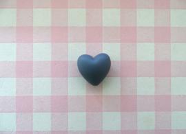 Siliconen kraal hart donkergrijs