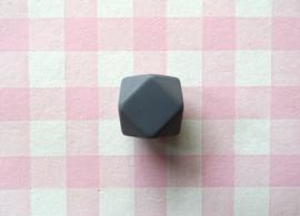 Siliconen kraal hexagon 17 mm donkergrijs