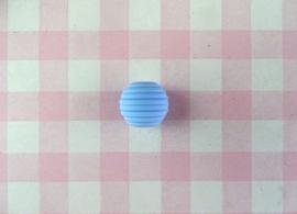 Siliconen kraal ribbel 15 mm blauw