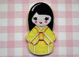Strijkapplicatie Geisha geel