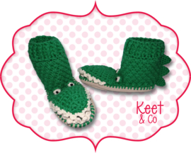 Haakpatroon pantoffels krokodil