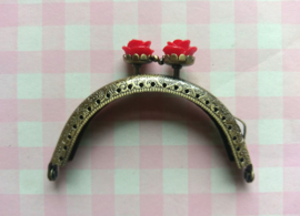 Portemonnee beugel brons roosje rood