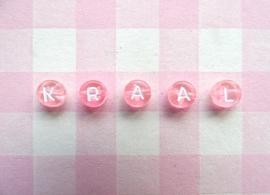 Letterkralen kunststof roze