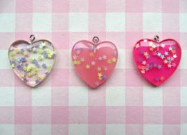 Bedeltje hart met glittersterretjes