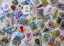 Postzegels 55 gemengde bloemen