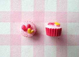 Roze cakeje met hartjes