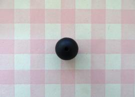 Siliconen kraal rond zwart 15 mm