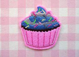 Strijkapplicatie cupcake roze met sprinkles