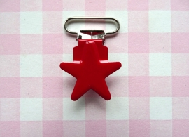 Speenclip metaal ster rood