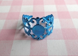 Filigraan ring metallic blauw