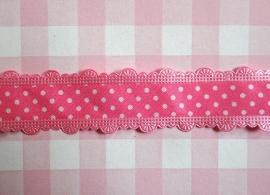 Sierband polkadot met geschulpte rand roze