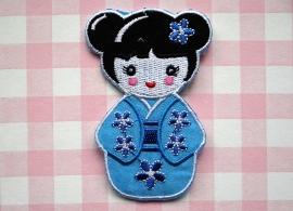 Strijkapplicatie Geisha blauw