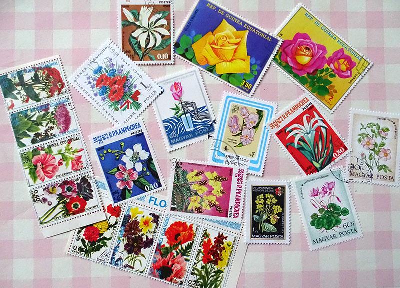Postzegels 20 gemengde bloemen