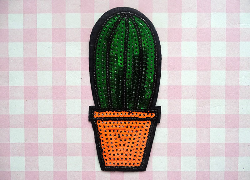 Strijkapplicatie cactus pailletten