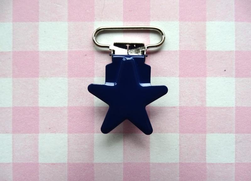 Speenclip metaal ster marineblauw