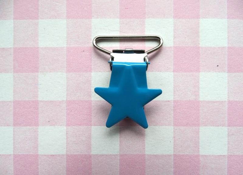 Speenclip metaal ster blauw