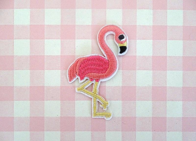 Strijkapplicatie flamingo klein