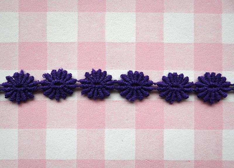 Lint bloemetjes paars