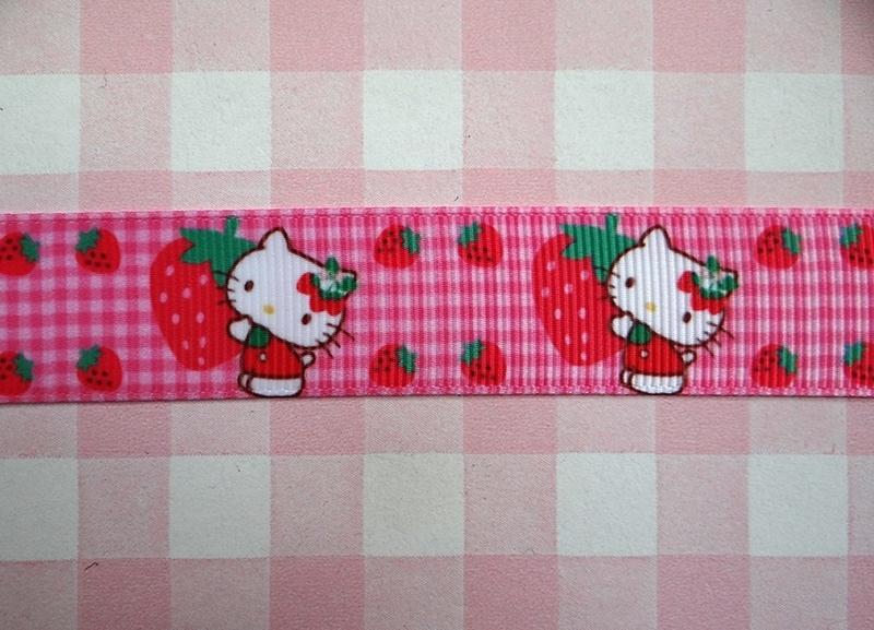 Lint Kitty aardbei roze ruit 22 mm