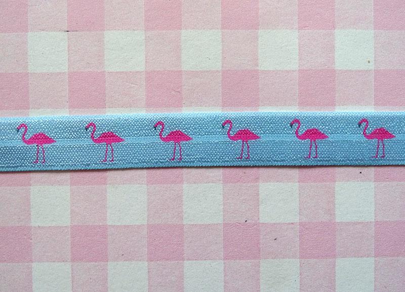 Elastiek flamingo's blauw
