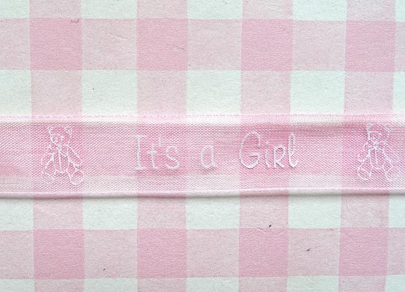 Organza lint zachtroze It's a Girl