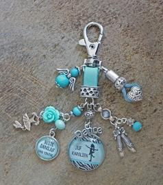 Sleutel / tashanger kadootje dansjuf of gewoon voor jezelf! turquoise