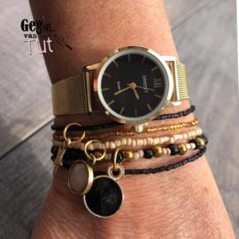 Horloge met armbanden Gold and black