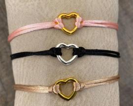 M&M armbandje hartje black/gold (meer kleuren mogelijk)