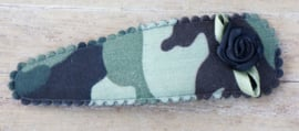 Jumbo haarknip met roosje; army camouflage (7 cm)