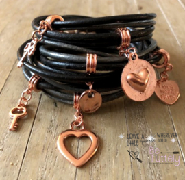 Wrap it! armband Vintage black grey rose gold