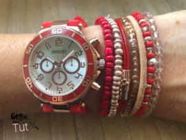 Horloge met armbanden New Red rosé and vintage leather