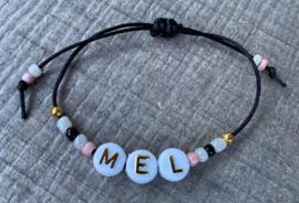M&M satijnkoord naam  black/gold/pink (meer kleurtjes mogelijk)