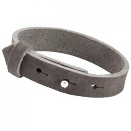 Armband 15 mm nubuck leer donker grijs