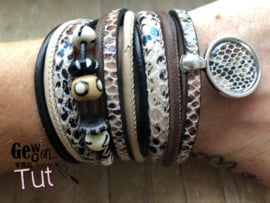 Armbandenset LS wrap with bone beads brown black