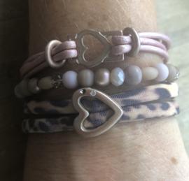 Armbandenset Pink loves leopard