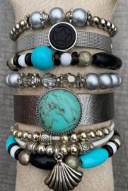Armbandenset black silver turquoise