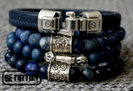 Heren armbandenset Navy tripple beads and leather