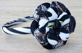 Diadeem / Haarband smal, zwart/wit zebra 2