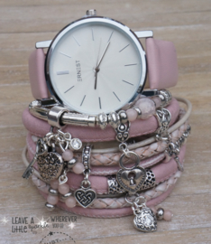 Armbandenset met horloge Wrap it! Love Pink
