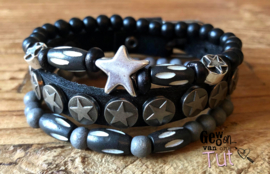 Armbandenset LS black stars grey and bones