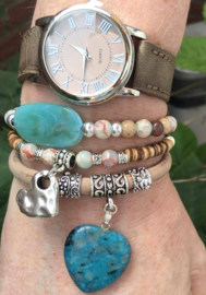 Armbandenset met horloge Croco Zand en Turquoise