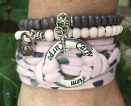 Stretchy Wrap met kralenbandjes Baby Pink Grey