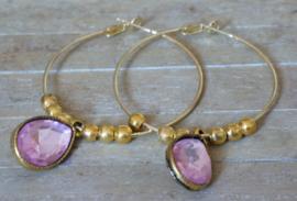 Oorbellen; Creolen goud met facet druppel pink